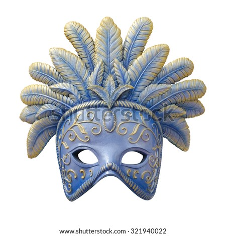 blue carnival mask with feathers isolate is on white background - stock photo