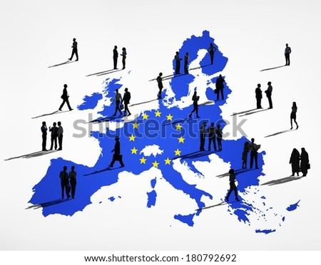 Blue Cartography Of European Union with Business Silhouettes - stock photo
