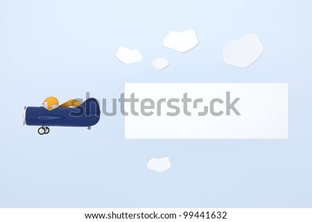 Blue cartoon plane pulling a blank banner - stock photo