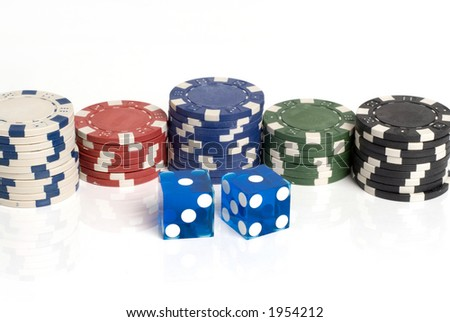 Blue Casino Dice with Snake Eyes