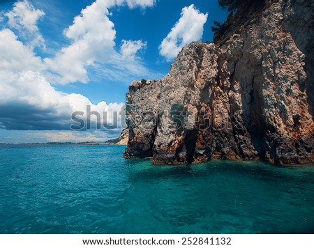 Blue caves on Zakynthos island, Greece  - stock photo