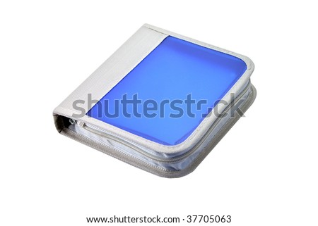 Blue CD case isolated on white background.
