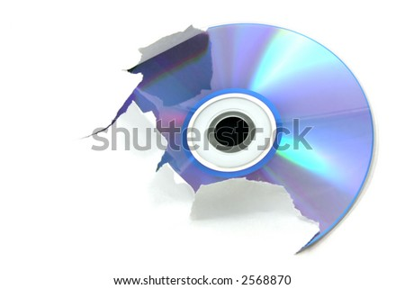 Blue cd tearing a white paper