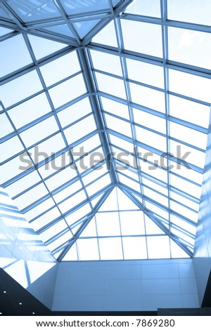 Blue ceiling in office centre