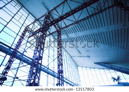 Blue ceining and windows in fabric - stock photo