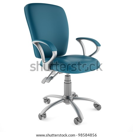 Blue chair on a white background - stock photo