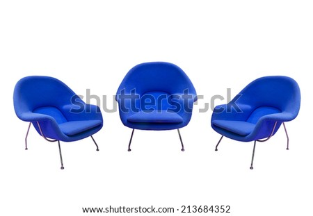 blue chairs isolated with paths - stock photo