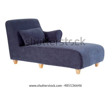 blue chaise lounge isolated on white background with clipping path