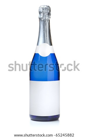 Blue champagne bottle. Isolated on white background - stock photo