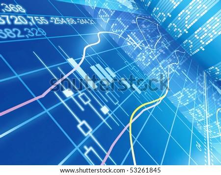 blue chart - stock photo