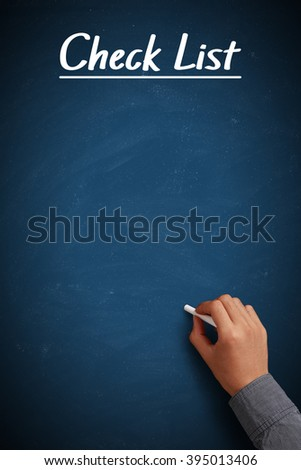 Blue Check List chalkboard with businessman hand aside. - stock photo