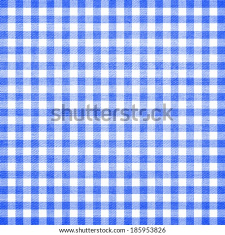 blue checkered tablecloth texture - stock photo