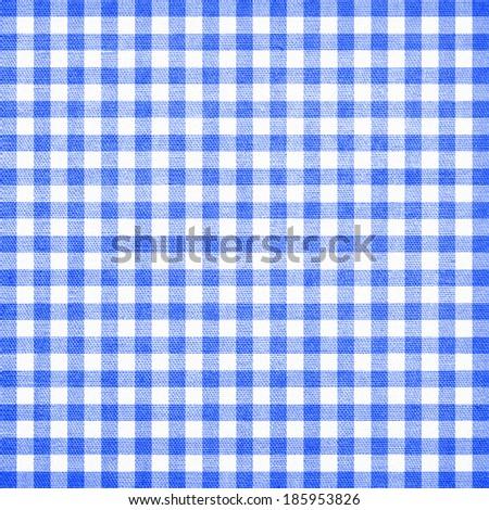 blue checkered tablecloth texture - stock photo