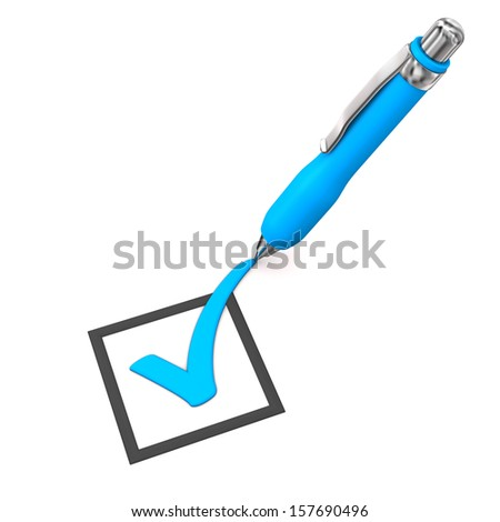 Blue checklist with ballpen on the white background. - stock photo