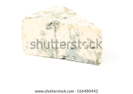 Blue cheese isolated on the white background