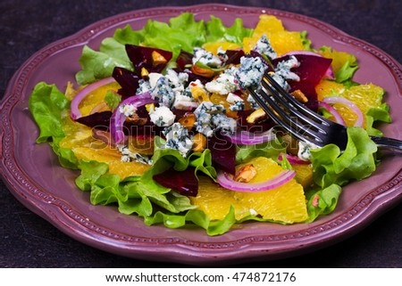 Blue Cheese, Orange, Beetroot, Red Onion and Pistachios Salad