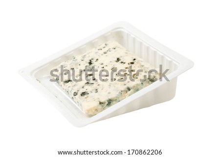 Blue cheese slice isolated on white - stock photo