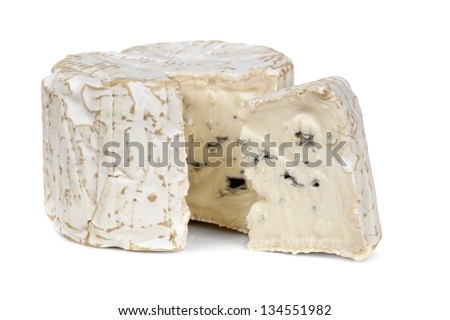 Blue cheese with wedge cut, isolated on white background. - stock photo