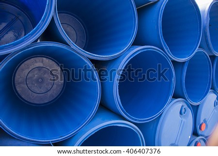 Blue chemical barrels stacked up Texture background - stock photo