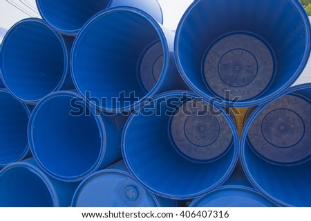 Blue chemical drums Texture background - stock photo