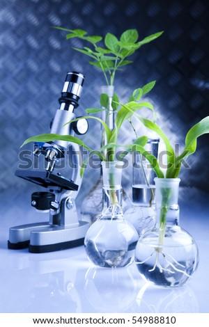 Blue chemistry vials - stock photo