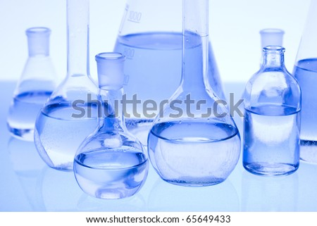 Blue chemistry vials with Laboratory glass