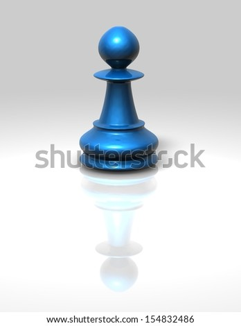 Blue chess pawn isolated illustration - stock photo