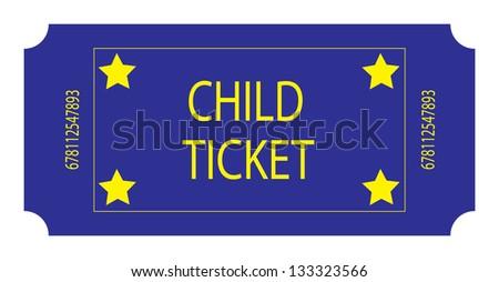 Blue Child Ticket - stock photo