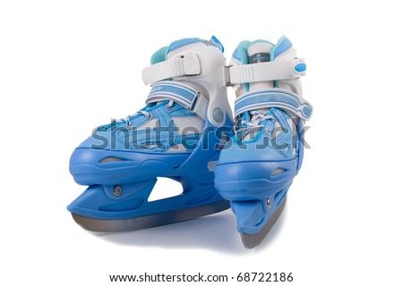 Blue children's  skates  on a white background - stock photo
