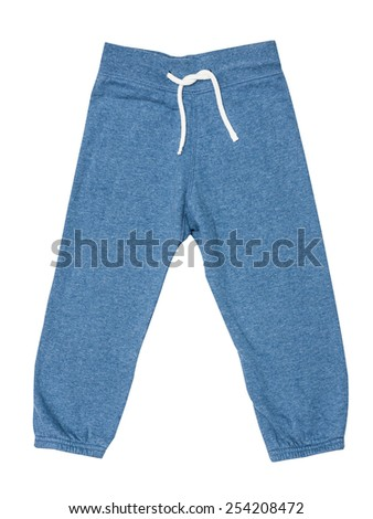 Blue children's sports trousers with ties isolated on the white - stock photo