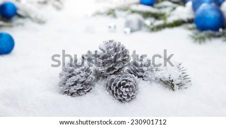 Blue chrismas  gifts box on snow - stock photo