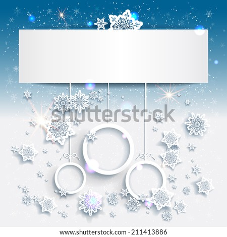 Blue Christmas background with abstract decorations. Place for text. Raster version. - stock photo