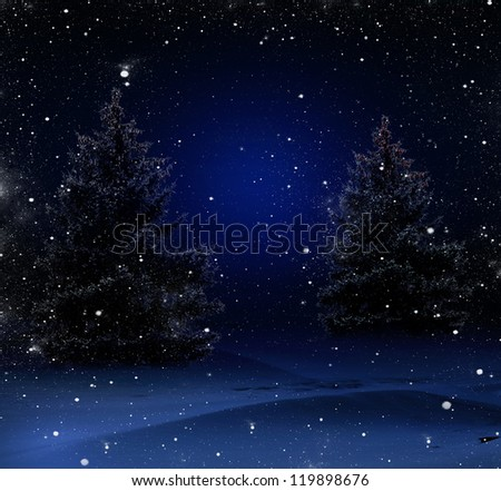 Blue Christmas background with Christmas trees - stock photo
