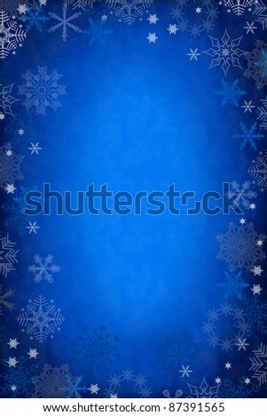 blue christmas background with snowflakes - stock photo