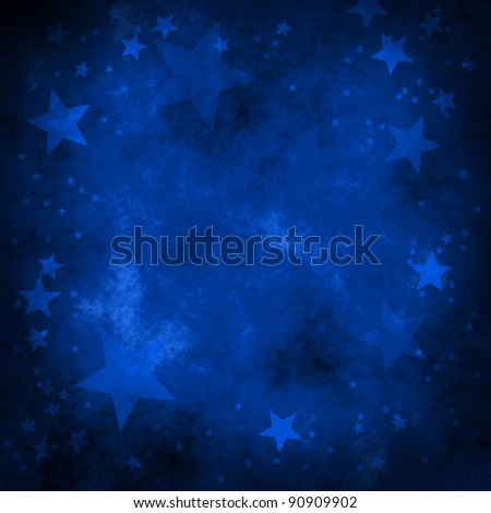 blue christmas background with stars - stock photo