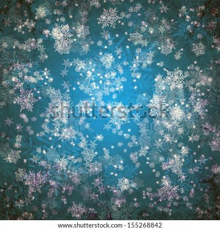 Blue christmas background with white snow flakes - stock photo