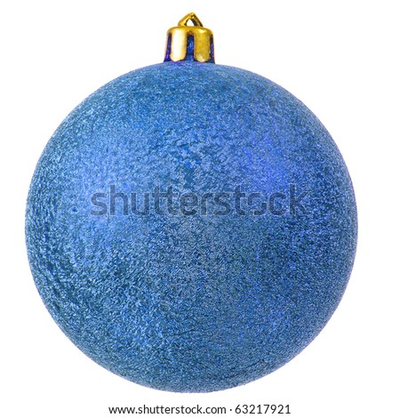 blue christmas ball (christmas ornament). Isolated over white. - stock photo
