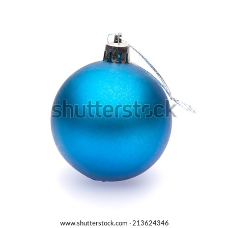 blue christmas ball on white background - stock photo