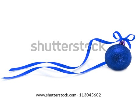 Blue Christmas ball with ribbon on white background - stock photo