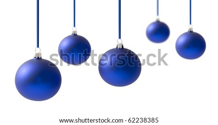 Blue christmas balls hanging on ribbons, against a white background - stock photo