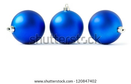 blue christmas balls  isolated on a white - stock photo