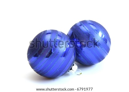 blue Christmas balls isolated on white