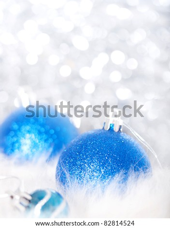 Blue christmas balls on abstract background - stock photo