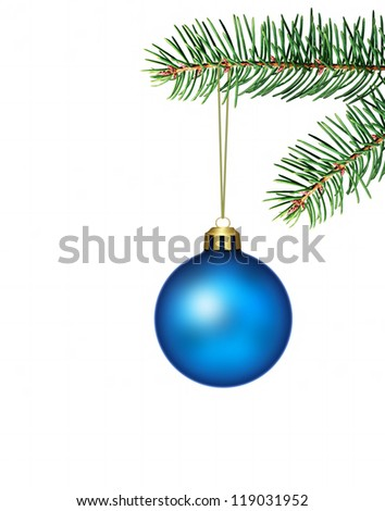 blue christmas bauble - stock photo