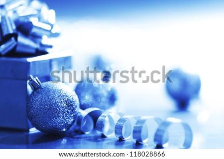blue christmas card  macro close up - stock photo