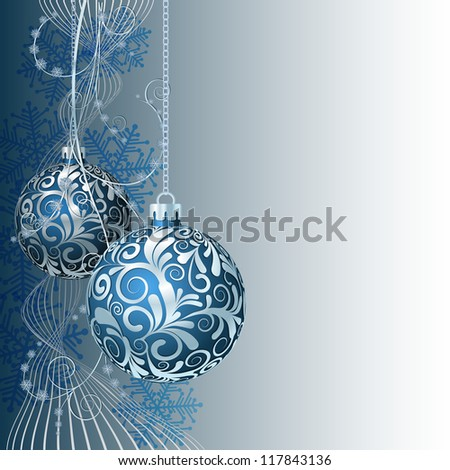 Blue Christmas card with Christmas balls and snowflakes - stock photo