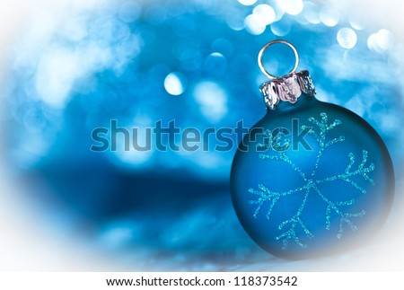 Blue Christmas card with copy space - stock photo