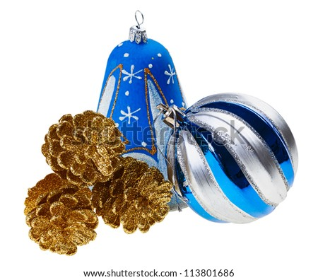 Blue christmas decoration ball, bell and golden fircones, isolated on white - stock photo
