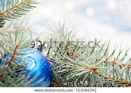 Blue christmas decoration. Selective focus - stock photo