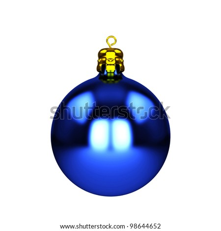 Blue christmas decorations baubles isolated on white - stock photo